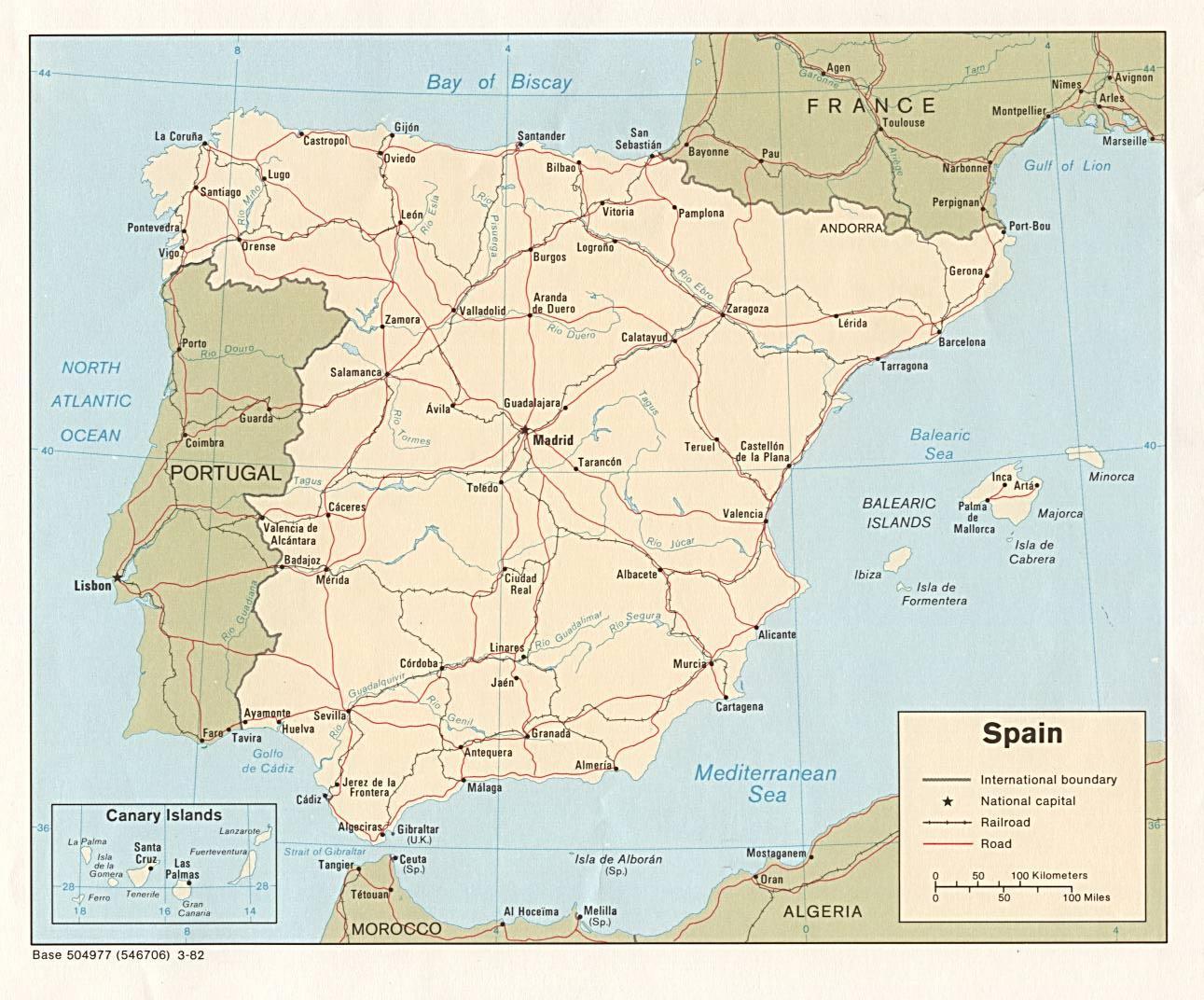 Madrid Spanien Kort Madrid Pa Kort Spanien